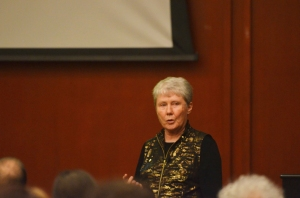 Maria Klawe speaks to students and faculty at Trinity University's Lennox Seminar.