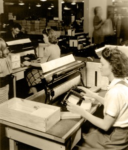 Largely involved in the U.S. Census Bureau, women were an integral part of collecting and analyzing the data for the 1940 Census. This photo shows some workers using the electronic tabulation equipment, which was used to record all the information on the punch cards.
