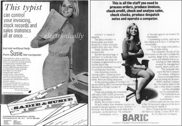 "From left to right: An advertisement for the ""Susie"" machine and an advertisement for the Baric (circa 1967)."